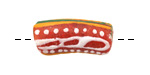 African Hand-Painted Coral Powder Glass (Krobo) Bead 19-29x11-12mm