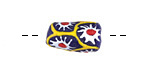 African Handpainted in Yellow & White Daisies on Navy Powder Glass (Krobo) Bead 17-20x11mm
