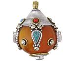 Tibetan Resin Amber w/ Coral & Turquoise Decorative Round Drop Pendant 30-32x38-40mm