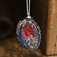Glass Orb Oval w/ Heritage Mix & Red Flowers and Pave Crystals 25x50mm