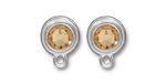 TierraCast Rhodium (plated) Stepped Bezel Ear Post w/ Light Colorado Topaz Crystal 12x17mm