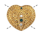 Czech Glass Gold & Crystal Heart Button 32x35mm