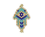 Turquoise Hand Woven Hamsa Evil Eye Focal 20x32mm