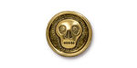 TierraCast Antique Gold (plated) Skully Button 17mm