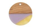Walnut Wood & Lavender Fields Resin Coin Focal 28mm