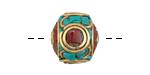 Tibetan Brass Rondelle w/ Turquoise & Coral Mosaic 15x18mm