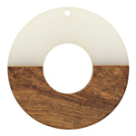Walnut Wood & Coconut Resin Donut Focal 45mm