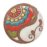Golem Studio Circus Paisley Waves Carved Ceramic Circle Pendant 45mm