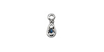 Antique Silver (plated) Marine Blue Crystal Teardrop Charm 5x12mm