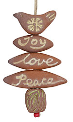Gaea Ceramic Joy, Love, Peace Bird Ornament Bundle