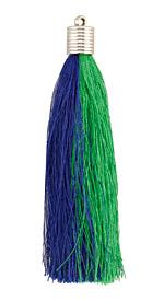 Navy & Green Thread Tassel w/ Metallic Gold Plastic Tassel Cap 101mm