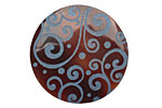 Lillypilly Blue Scrolling Vine Tab Shell Round Cabochon 31mm