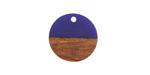Walnut Wood & Indigo Resin Coin Focal 18mm