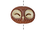 Gaea Ceramic Brick Happy Owl Bead 32x19mm