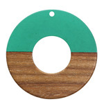 Walnut Wood & Emerald Resin Donut Focal 45mm