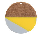 Walnut Wood & Yellow and Gray 2021 Color of the Year Resin Coin Focal 38mm