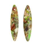 Apple Green Impression Jasper & Pyrite Thin Horse Eye Pendant Pair 10x42mm