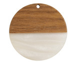 Walnut Wood & Alabaster Pearlescent Resin Coin Focal 38mm
