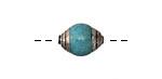 Tibetan Small Turquoise & White Brass Bead 14x10mm