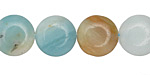 Black Gold Amazonite Puff Coin 14mm