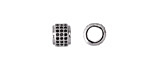 Jet Pave CZ Rhodium (plated) Large Hole Rondelle 6x8mm