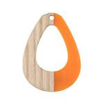 Wood & Tangerine Resin Open Teardrop Focal 28x38mm