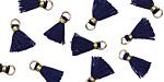 Navy w/ Gold Binding & Jump Ring Tiny Thread Tassel 12mm