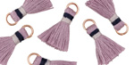 Lavender w/ Gray and Navy Binding & Jump Ring Thread Tassel 18mm