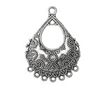 Zola Elements Antique Silver (plated) Ornate Bali Style Teardrop Chandelier Focal 27x37mm