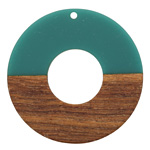 Walnut Wood & Teal Resin Donut Focal 45mm