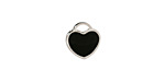 Jet Enamel Stainless Steel Heart Charm 11x12mm