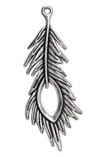 Zola Elements Antique Silver (plated) Open Eye Peacock Feather 28x72mm
