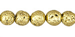 Metallic Gold (plated) Lava Rock Round 10mm