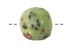 African Powder Glass Key Lime Confetti Large Round Bead 22-23mm