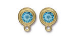 TierraCast Gold (plated) Stepped Bezel Ear Post w/ Aquamarine Crystal 12x17mm