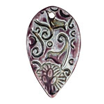Earthenwood Studio Ceramic Amethyst Iron Love Birds Pendant 28x45mm
