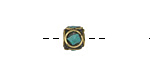 Tibetan Brass Cube Bead w/ Turquoise Mosaic 8-9mm