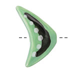 Gaea Ceramic Mint w/ Black & White Boomerang Focal Bead 23-25x39-41mm