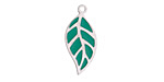 Turquoise Enamel Stainless Steel Falling Leaf Focal 10x22mm
