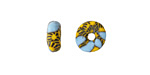 African Recycled Glass & Seed Bead Opaque Aqua w/ Yellow Donut 6-7x14mm