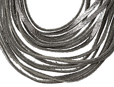 "The Lipstick Ranch Antique Silver Shredded Leather Choker 17 1/4"" x 2"""