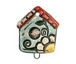 Jangles Ceramic Bird House Pendant 28x36mm