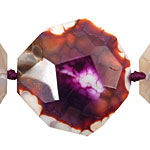 Purple w/ White Fire Agate Faceted Flat Slab 34-42x36-41mm