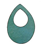 Lillypilly Sea Green Leather Small Open Teardrop 34x50mm