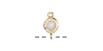 Opal Crystal in Gold (plated) Textured Bezel Link 7x12mm