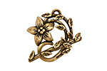 Antique Brass (plated) Flower & Vine Toggle Clasp 27x23mm, 28mm bar