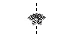 Antique Silver (plated) Lotus Bead 13x9mm