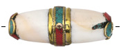 Tibetan Brass & Shell Long Banded Barrel Bead w/ Coral & Turquoise 43-54x18-21mm