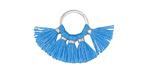 Ocean Blue Small Fanned Tassel on Ring w/ Silver Finish 29x19mm