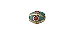 Tibetan Brass 4-Sided Rice Bead w/ Turquoise & Coral Mosaic Eyes 13-15x9-10mm